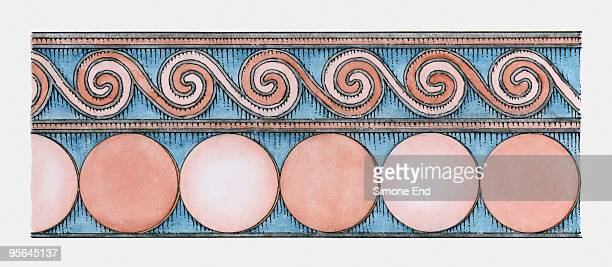 ornate pattern on facade of ancient greek treasury of atreus, mycenae - mycenae stock illustrations