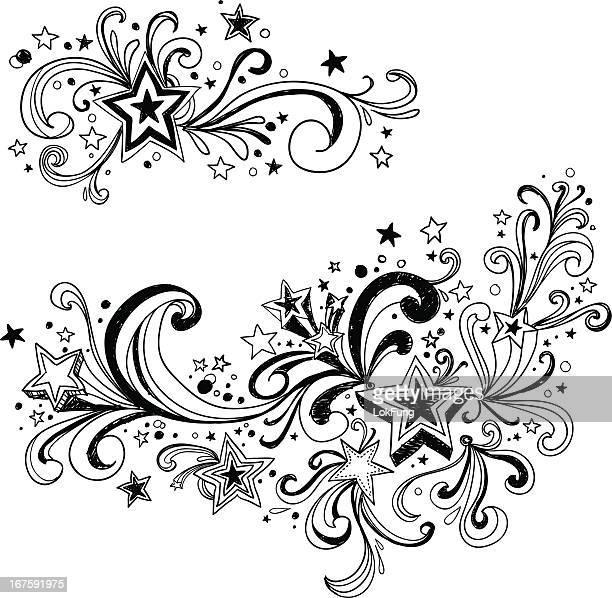 ornate stars  in black and white - bling bling stock illustrations, clip art, cartoons, & icons