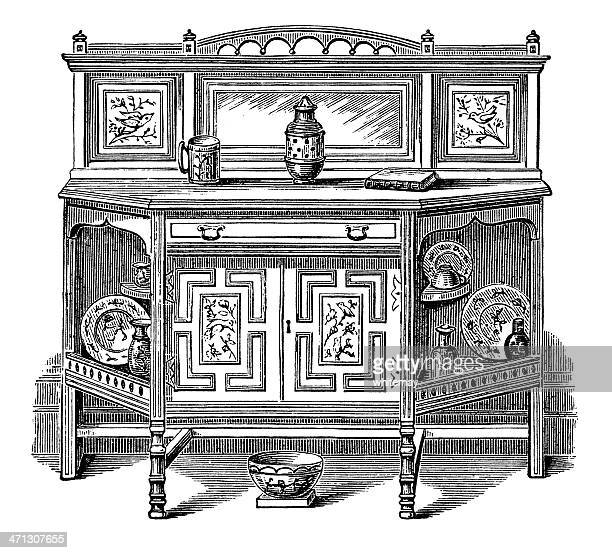 ornate victorian sideboard - english culture stock illustrations