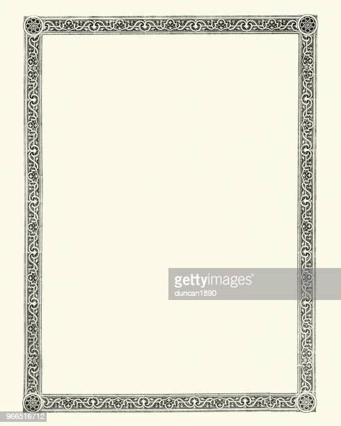 ornate victorian style border design element - woodcut stock illustrations