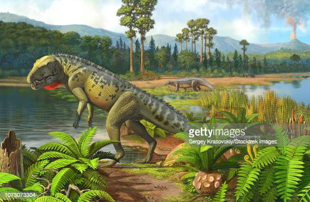 Ornithosuchus reptiles grazing prehistoric wetlands.