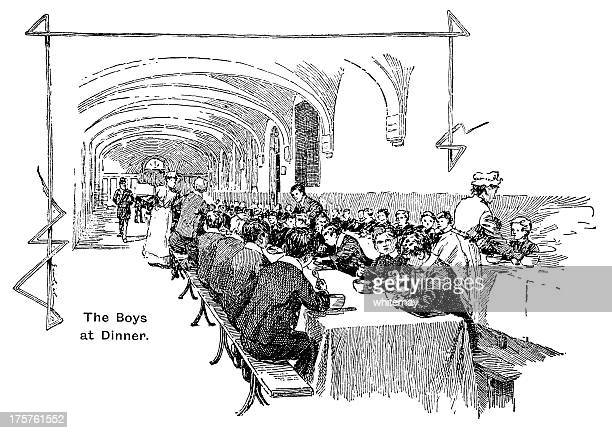 orphan boys from the foundling hospital eating their dinner - orphan stock illustrations