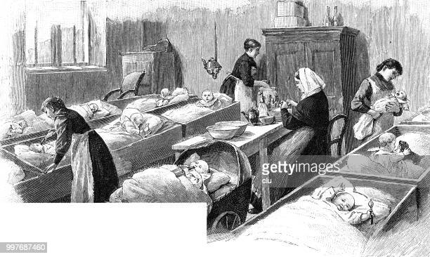 orphans in the bedroom - orphan stock illustrations