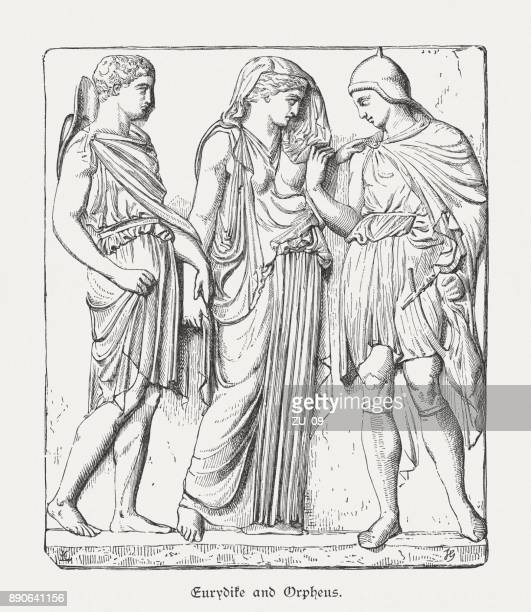 orpheus, eurydice and hermes, ancient greek relief, louvre, published 1879 - relief carving stock illustrations