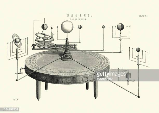 orrery, planetarium, mechanical model of the solar system, 19th century - archival stock illustrations