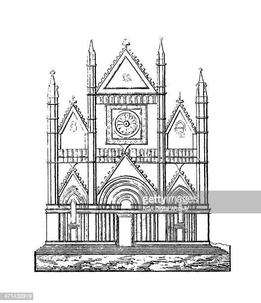 Orvieto Cathedral, Italy | Antique Architectural Illustrations