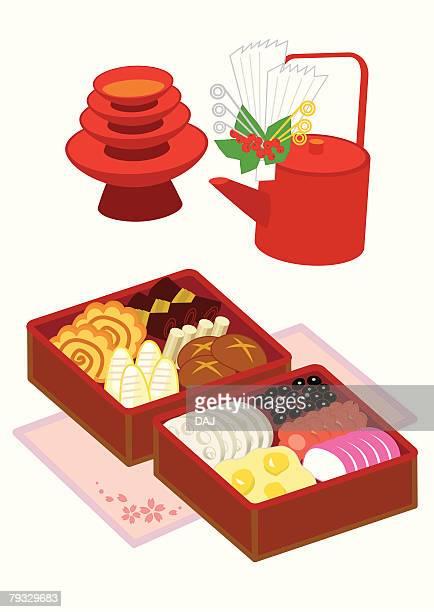 osechi, close-up, illustration - osechi ryori stock illustrations