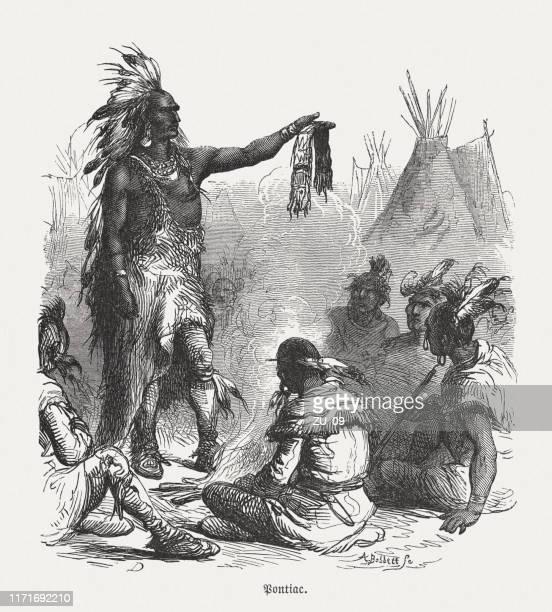 ilustrações, clipart, desenhos animados e ícones de o líder pontiac de ottawa no conselho da guerra, woodcut, publicou 1876 - 6 7 anos