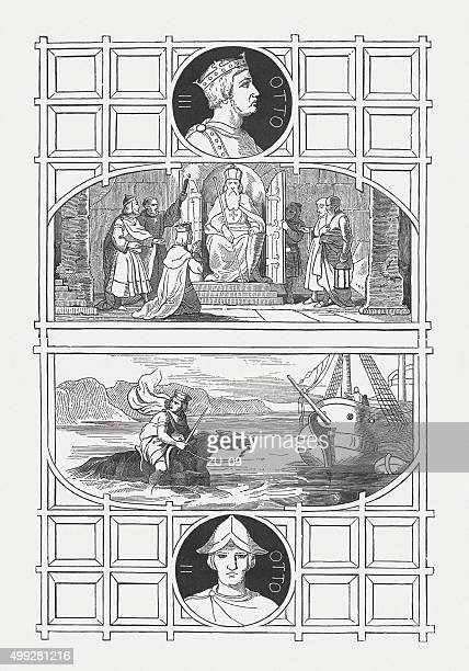 otto iii and otto ii, holy roman emperors, published 1876 - otto ii stock illustrations