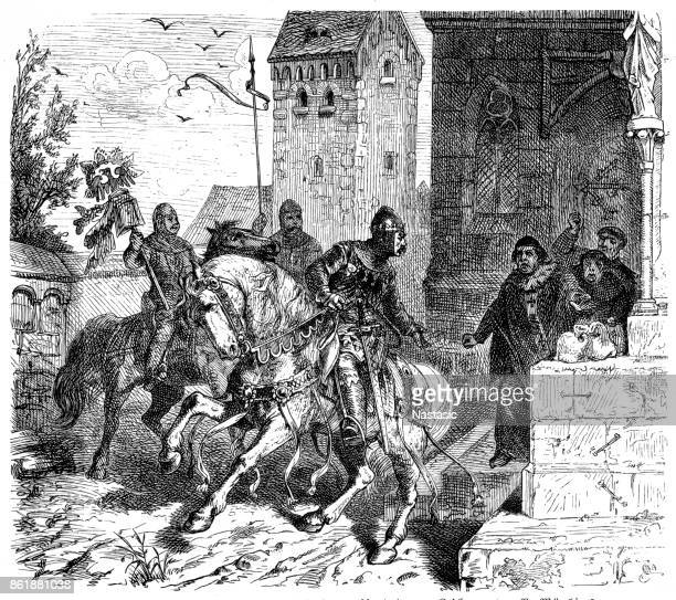 otto iv. with the division in front of the archbishop of magdeburg - empress stock illustrations, clip art, cartoons, & icons