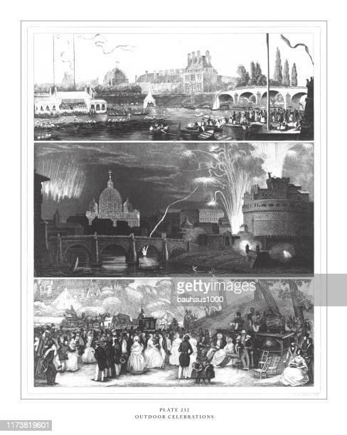 アンティークイラストを彫刻するアウトドア・セレブレーション、1851年発行 - 舞踏会点のイラスト素材/クリップアート素材/マンガ素材/アイコン素材