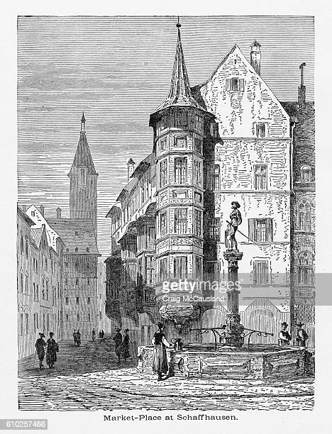 outdoor market place in schaffhausen, germany circa 1887 - circa 14th century stock illustrations, clip art, cartoons, & icons