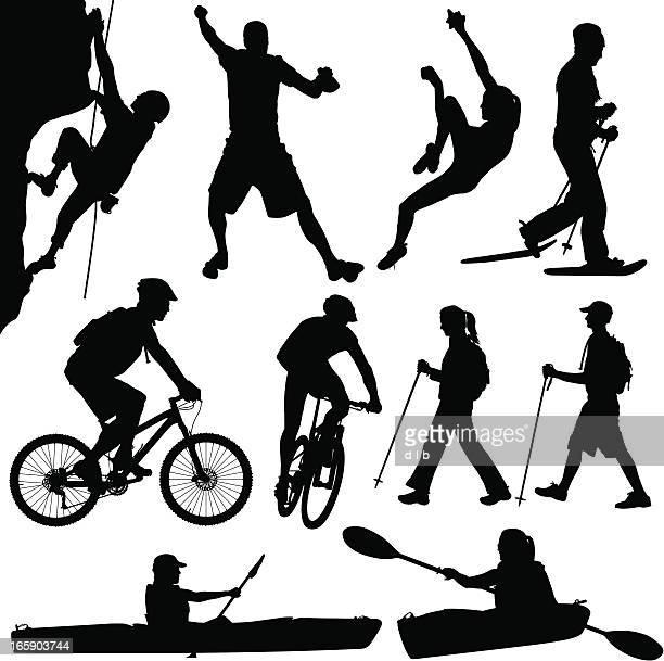 ilustrações de stock, clip art, desenhos animados e ícones de ao ar livre de pessoas caiaque na caminhada e escalada bicicleta de andar de raquetas de neve - mountain bike