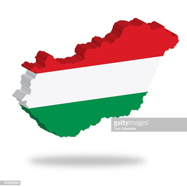 Outline and flag of Hungary, 3D, hovering