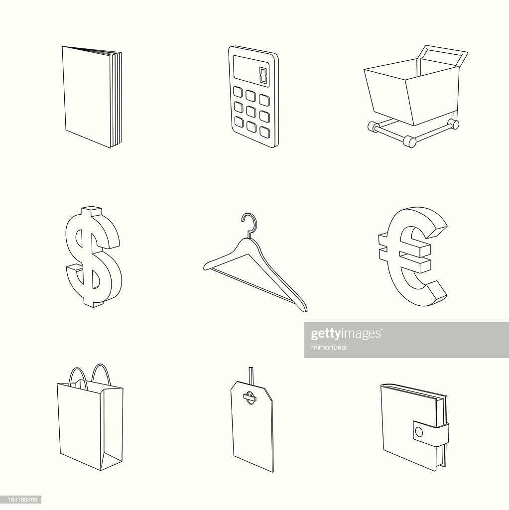 outline gray 3D icon set 06