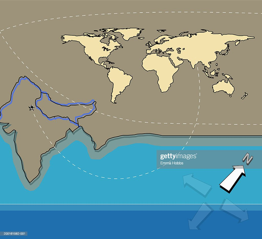 Outline map of india line connecting delhi to world map stock outline map of india line connecting delhi to world map stock illustration gumiabroncs Gallery