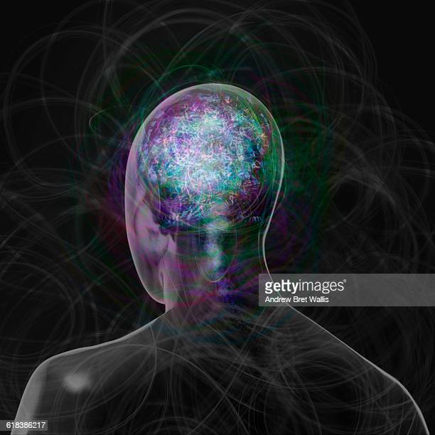 outline of a male human head shows brain activity - human brain stock illustrations, clip art, cartoons, & icons