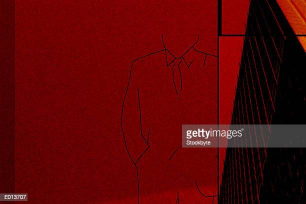 Outline of businessman over red background