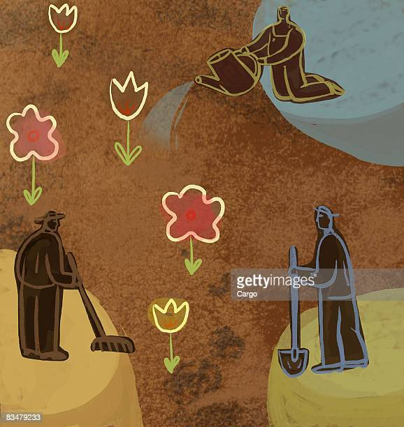 outline of three gardeners tending flowers - landscaper professional stock illustrations, clip art, cartoons, & icons