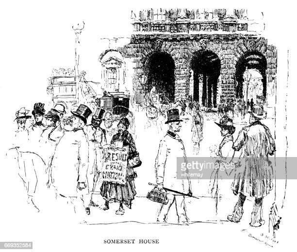外のサマセット ・ ハウス、ストランド、ロンドン (ビクトリア朝の図)