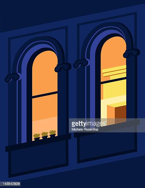 outside view of two windows at night - architectural feature stock illustrations, clip art, cartoons, & icons