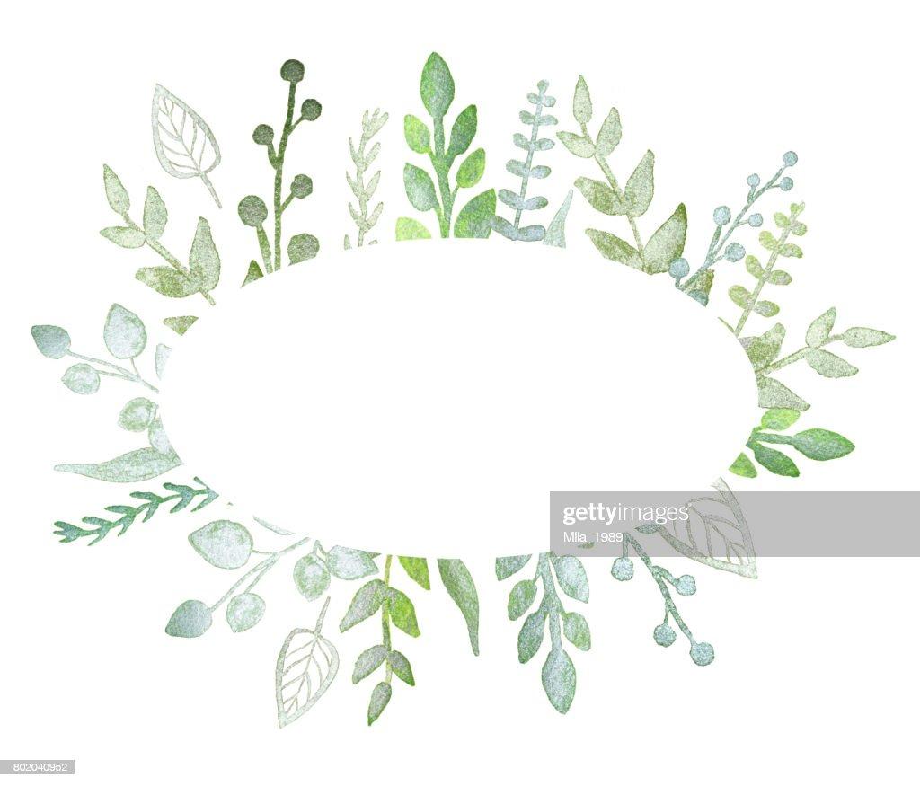 Ovalen Rahmen Mit Perle Grüne Zweige Und Blätter Stock-Illustration ...