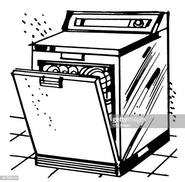 Best Washing Dishes Illustrations Royalty Free Vector: Dishwasher Premium Stock Illustrations