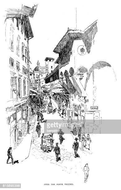 ヴェッキオ橋の上 - 19世紀点のイラスト素材/クリップアート素材/マンガ素材/アイコン素材