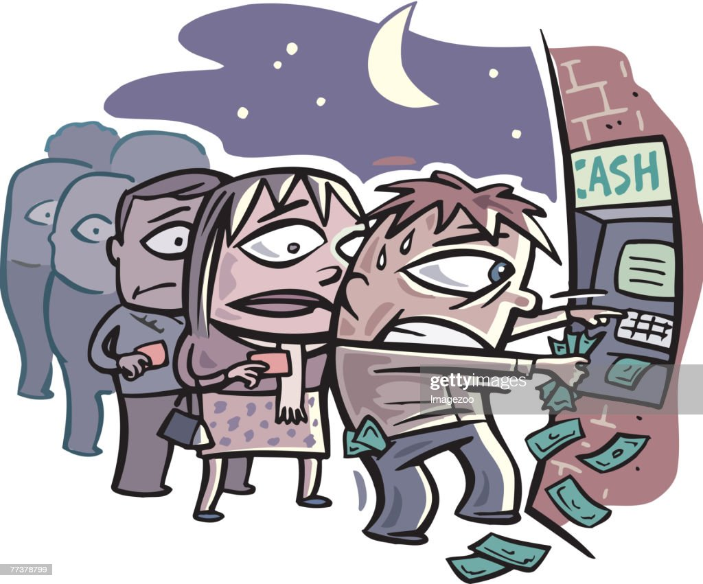 overflowing bank machine : stock illustration