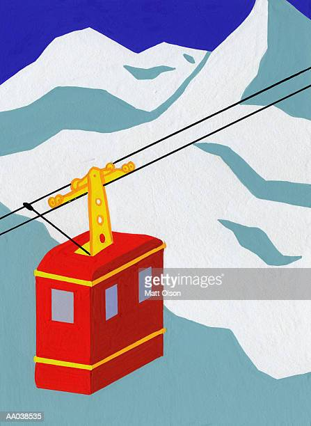 Overhead cable car, mountains in background
