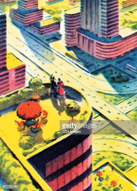 overhead shot - traffic stock illustrations