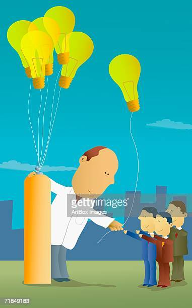 Oversized male scientist giving light bulbs on strings to three businessmen