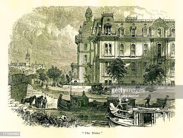 over-the-rhine neighbourhood, cincinnati, ohio   historic american illustrations - village stock illustrations