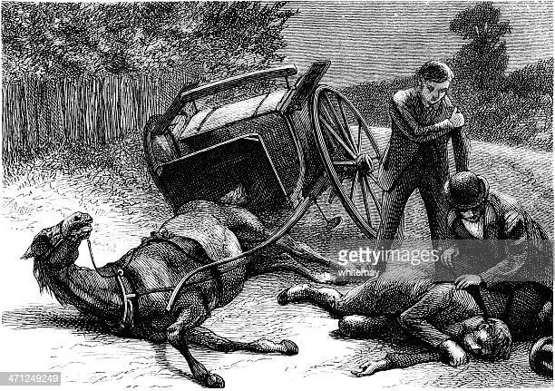 Overturned horse and buggy with a casualty (Victorian illustration)