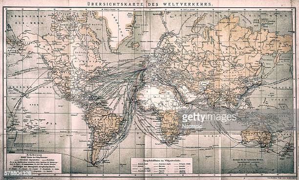 overview map world traffic - 1900 1909 stock illustrations