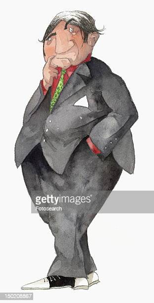 Overweight businessman in suit thinking