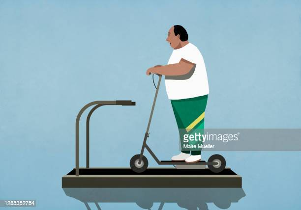 overweight man riding electric scooter on treadmill - standing stock illustrations