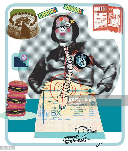 ilustraciones, imágenes clip art, dibujos animados e iconos de stock de overweight woman with food on her mind - bulimia