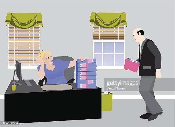 overworked secretary - desk organizer stock illustrations, clip art, cartoons, & icons