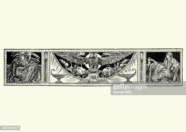 ilustraciones, imágenes clip art, dibujos animados e iconos de stock de búho decorados con las cifras de la muerte y tiempo - la muerte