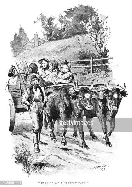 Oxcart filled with nineteenth century women