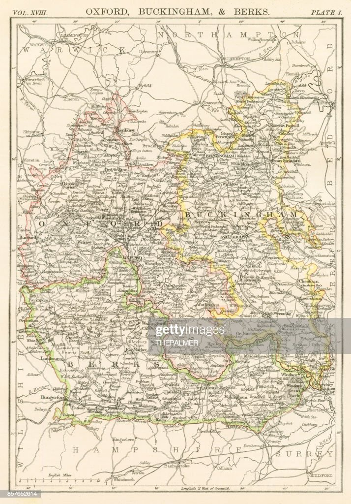 Oxford And Buckingham Map 1885 Stock Illustration Getty Images