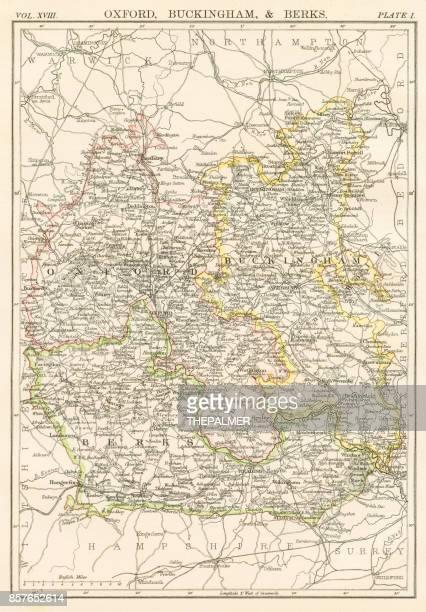 oxford und buckingham karte 1885 - london und umgebung stock-grafiken, -clipart, -cartoons und -symbole