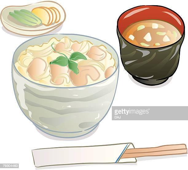 ilustraciones, imágenes clip art, dibujos animados e iconos de stock de oyakodon(-buri), japan - pollo asado
