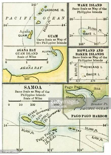 pacific island samoa map 1898 - american samoa stock illustrations