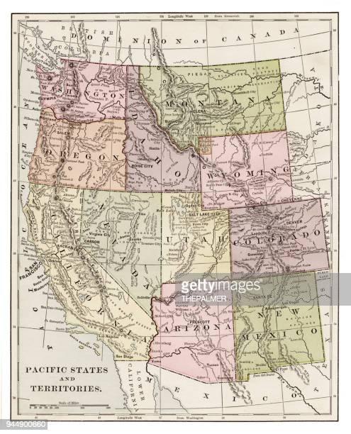 pacific states 1889 - nevada stock illustrations