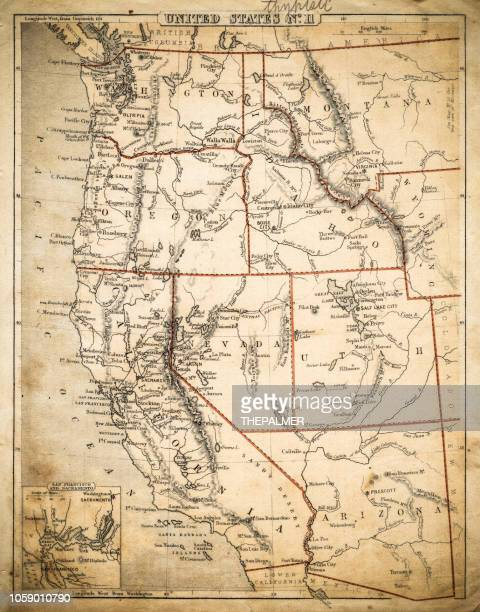 usa pacific states map of 1869 - western usa stock illustrations