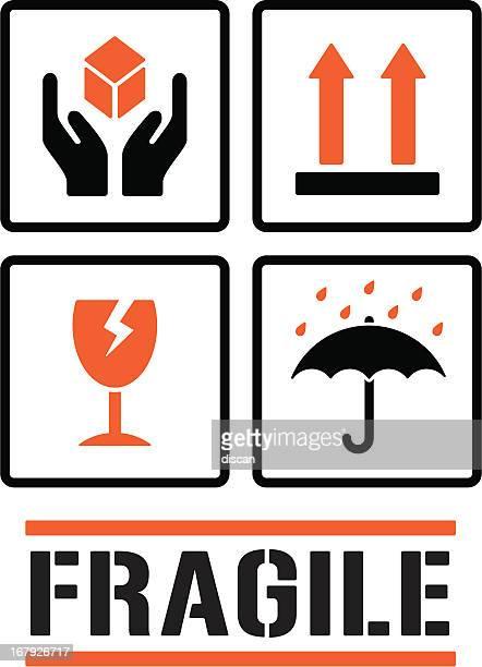 packaging symbols - fragility stock illustrations