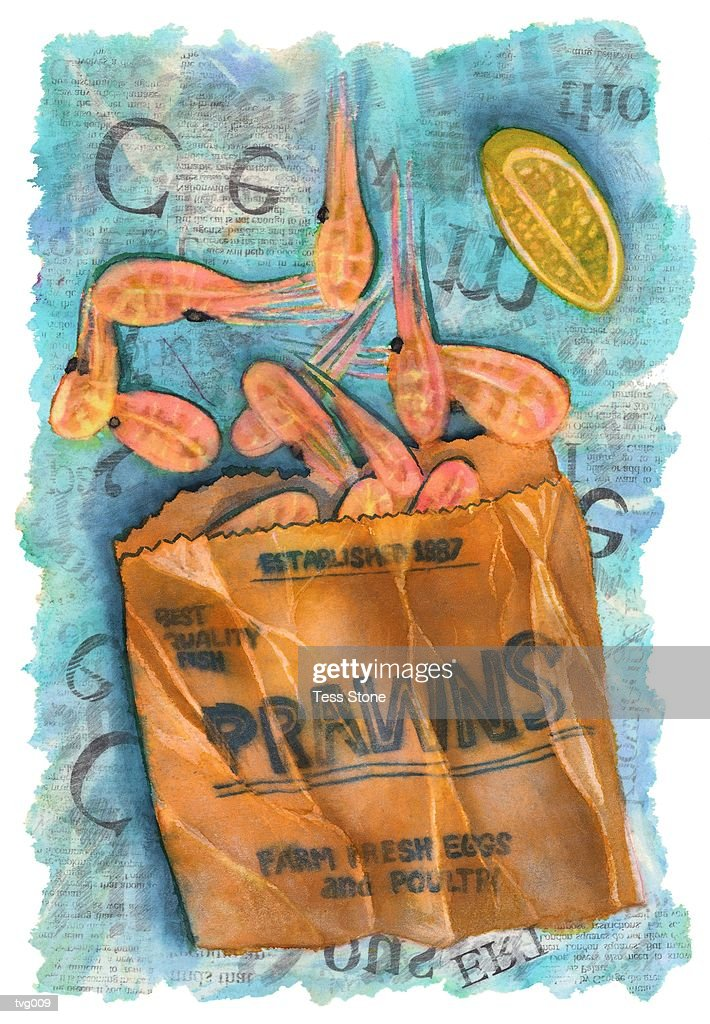 Packet of Prawns : Stock Illustration