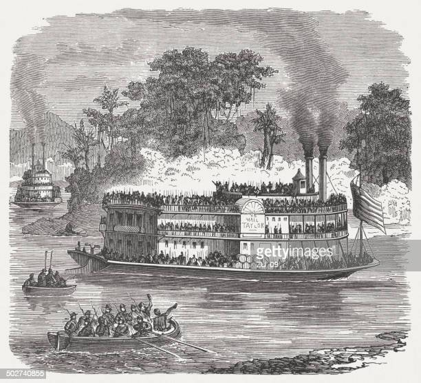 paddle steamer in american civil war, wood engraving, published 1880 - us marine corps stock illustrations, clip art, cartoons, & icons